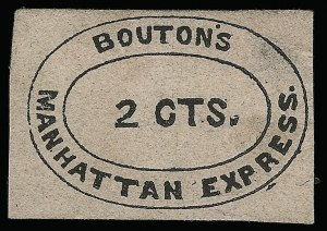 Sale Number 925, Lot Number 1370, BoutonBouton's Manhattan Express, New York N.Y., 2c Black on Pink (17L1), Bouton's Manhattan Express, New York N.Y., 2c Black on Pink (17L1)