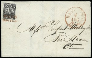 Sale Number 925, Lot Number 1371, BoutonBouton's City Dispatch Post, New York N.Y., 2c Black, Leaves in Corners (18L1), Bouton's City Dispatch Post, New York N.Y., 2c Black, Leaves in Corners (18L1)