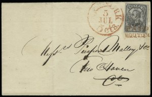 Sale Number 925, Lot Number 1373, BoutonBouton's City Dispatch Post, New York N.Y., 2c Black on Gray Blue, Dots in Corners (18L2), Bouton's City Dispatch Post, New York N.Y., 2c Black on Gray Blue, Dots in Corners (18L2)