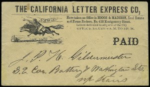 Sale Number 925, Lot Number 1444, California City Letter Express Co, California Penny Post Co.California Letter Express Co. (Hoogs & Madison), San Francisco, Black Printed Frank, California Letter Express Co. (Hoogs & Madison), San Francisco, Black Printed Frank