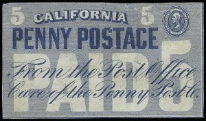 Sale Number 925, Lot Number 1448, California City Letter Express Co, California Penny Post Co.California Penny Post Co., San Francisco, 5c Blue (34L4), California Penny Post Co., San Francisco, 5c Blue (34L4)