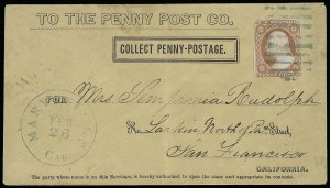 "Sale Number 925, Lot Number 1457, California City Letter Express Co, California Penny Post Co.California Penny Post Co., San Francisco, ""Collect Penny Postage"" in Black on Buff Entire (34LU11C), California Penny Post Co., San Francisco, ""Collect Penny Postage"" in Black on Buff Entire (34LU11C)"