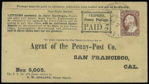 Sale Number 925, Lot Number 1458, California City Letter Express Co, California Penny Post Co.California Penny Post Co., San Francisco, 7c Black on Buff Entire (34LU14 var), California Penny Post Co., San Francisco, 7c Black on Buff Entire (34LU14 var)