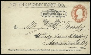 Sale Number 925, Lot Number 1459, California City Letter Express Co, California Penny Post Co.California Penny Post Co., San Francisco, 7c Black on 3c Red on White Entire (34LU12), California Penny Post Co., San Francisco, 7c Black on 3c Red on White Entire (34LU12)