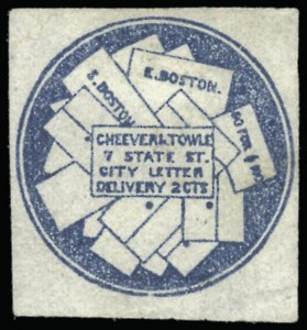 Sale Number 925, Lot Number 1472, CarterCheever & Towle, Boston Mass., 2c Blue (37L1), Cheever & Towle, Boston Mass., 2c Blue (37L1)