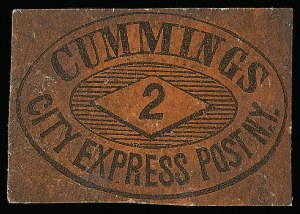 Sale Number 925, Lot Number 1498, CornwellCummings' City Post, New York N.Y., 2c Black on Vermilion Glazed (55L7), Cummings' City Post, New York N.Y., 2c Black on Vermilion Glazed (55L7)