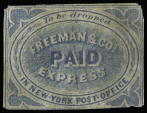 "Sale Number 925, Lot Number 1542, Freeman thru Gahagan & HoweFreeman & Co.'s Express, (unstated value) Blue, ""To be dropped in New-York Post-Office"" (164L1), Freeman & Co.'s Express, (unstated value) Blue, ""To be dropped in New-York Post-Office"" (164L1)"