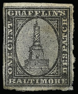 Sale Number 925, Lot Number 1559, GrafflinGrafflin's Baltimore Despatch, Baltimore Md., 1c Black (73L1), Grafflin's Baltimore Despatch, Baltimore Md., 1c Black (73L1)