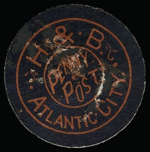 Sale Number 925, Lot Number 1562, GrafflinHackney & Bolte Penny Post, Atlantic City N.J., (1c) Black on Red (153L1), Hackney & Bolte Penny Post, Atlantic City N.J., (1c) Black on Red (153L1)