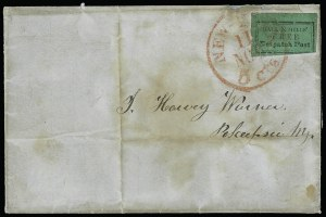 Sale Number 925, Lot Number 1564, GrafflinHall & Mills' Despatch Post, New York N.Y., (2c) Black on Green (76L1), Hall & Mills' Despatch Post, New York N.Y., (2c) Black on Green (76L1)
