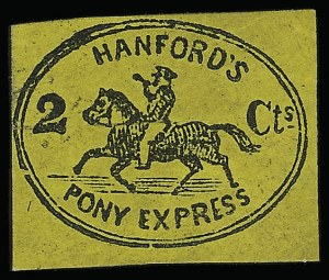 Sale Number 925, Lot Number 1567, GrafflinHanford's Pony Express, New York N.Y., 2c Black on Orange Yellow (78L1), Hanford's Pony Express, New York N.Y., 2c Black on Orange Yellow (78L1)