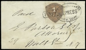 Sale Number 925, Lot Number 1626, Metropolitan Post Office thru MillsMetropolitan Errand and Carrier Express Co., New York N.Y., 1c Red Orange (107L1), Metropolitan Errand and Carrier Express Co., New York N.Y., 1c Red Orange (107L1)