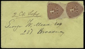 Sale Number 925, Lot Number 1627, Metropolitan Post Office thru MillsMetropolitan Errand and Carrier Express Co., New York N.Y., 1c Red Orange (107L1), Metropolitan Errand and Carrier Express Co., New York N.Y., 1c Red Orange (107L1)