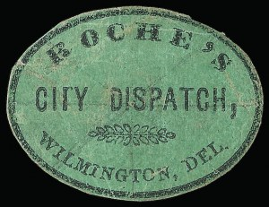Sale Number 925, Lot Number 1670, Robison & Co. thru RussellRoche's City Dispatch, Wilmington Del., (2c) Black on Green Glazed (129L1), Roche's City Dispatch, Wilmington Del., (2c) Black on Green Glazed (129L1)