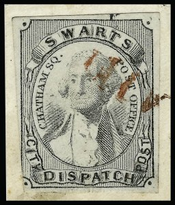 Sale Number 925, Lot Number 1700, SwartsSwarts' City Dispatch Post, New York N.Y., (1c) Engraved Reproductions, Swarts' City Dispatch Post, New York N.Y., (1c) Engraved Reproductions