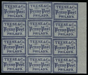 Sale Number 925, Lot Number 1708, Teese & Co. thru Telegraph DespatchTeese & Co. Penny Post, (1c) Blue on Bluish (137L1), Teese & Co. Penny Post, (1c) Blue on Bluish (137L1)