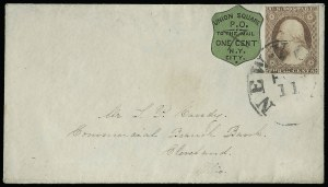 Sale Number 925, Lot Number 1723, Towle & Co. theu Walton & Co.Union Square Post Office, New York N.Y., 1c Black on Light Apple Green (141L2), Union Square Post Office, New York N.Y., 1c Black on Light Apple Green (141L2)