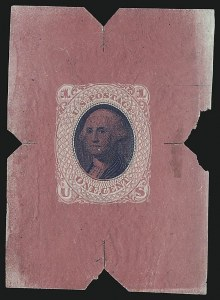 Sale Number 930, Lot Number 1119, Essays, Proofs and Specimens: 1869 Pictorial IssueNational Bank Note Co., 1c Carmine & Blue, Untrimmed Die Essay on Thin White Paper (79-E35a var), National Bank Note Co., 1c Carmine & Blue, Untrimmed Die Essay on Thin White Paper (79-E35a var)