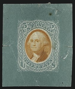 Sale Number 930, Lot Number 1120, Essays, Proofs and Specimens: 1869 Pictorial IssueNational Bank Note Co., 5c Blue Green & Orange, Untrimmed Die Essay on Thin White Paper (79-E35a), National Bank Note Co., 5c Blue Green & Orange, Untrimmed Die Essay on Thin White Paper (79-E35a)