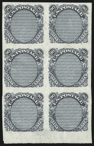 Sale Number 930, Lot Number 1141, Essays, Proofs and Specimens: 1869 Pictorial Issue90c Frame Only, Plate Essay on Stamp Paper (122-E3), 90c Frame Only, Plate Essay on Stamp Paper (122-E3)