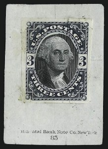 Sale Number 930, Lot Number 1160, Essays, Proofs and Specimens: Bank Note IssuesPhiladelphia Bank Note Co., 3c Dark Blue & Black, Composite Die Essay on Stamp Paper (184-E4 var), Philadelphia Bank Note Co., 3c Dark Blue & Black, Composite Die Essay on Stamp Paper (184-E4 var)