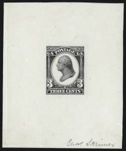 Sale Number 930, Lot Number 1163, Essays, Proofs and Specimens: Bank Note IssuesContinental Bank Note Co., 3c Black, Liberty Die Essay on White Glazed Paper (184-E12b), Continental Bank Note Co., 3c Black, Liberty Die Essay on White Glazed Paper (184-E12b)