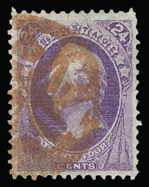 Sale Number 930, Lot Number 2012, 1870-71 National Bank Note Co. Ungrilled Issue (Scott 145-155)24c Purple (153), 24c Purple (153)