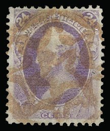 Sale Number 930, Lot Number 2015, 1870-71 National Bank Note Co. Ungrilled Issue (Scott 145-155)24c Purple (153), 24c Purple (153)