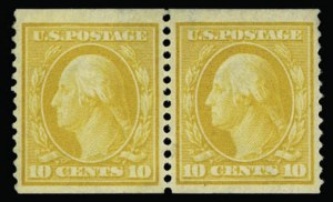 Sale Number 930, Lot Number 2409, 1908-10 Washington-Franklin Issues (Scott 331-356)10c Yellow, Coil (356), 10c Yellow, Coil (356)