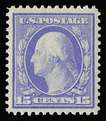 Sale Number 930, Lot Number 2425, 1909 Bluish Paper Issue (Scott 357-366)15c Pale Ultramarine, Bluish (366), 15c Pale Ultramarine, Bluish (366)