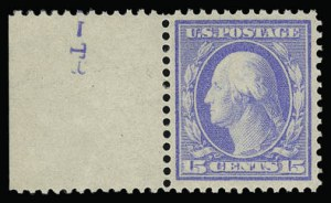 Sale Number 930, Lot Number 2426, 1909 Bluish Paper Issue (Scott 357-366)15c Pale Ultramarine, Bluish (366), 15c Pale Ultramarine, Bluish (366)
