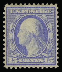 Sale Number 930, Lot Number 2427, 1909 Bluish Paper Issue (Scott 357-366)15c Pale Ultramarine, Bluish (366), 15c Pale Ultramarine, Bluish (366)