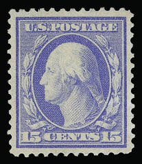 Sale Number 930, Lot Number 2428, 1909 Bluish Paper Issue (Scott 357-366)15c Pale Ultramarine, Bluish (366), 15c Pale Ultramarine, Bluish (366)
