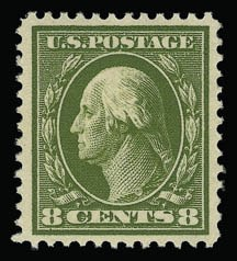 Sale Number 930, Lot Number 2437, 1910-13 Washington-Franklin Issue (Scott 374-396)8c Olive Green (380), 8c Olive Green (380)