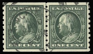 Sale Number 930, Lot Number 2446, 1910-13 Washington-Franklin Issue (Scott 374-396)1c Green, Coil (392), 1c Green, Coil (392)