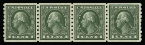 Sale Number 930, Lot Number 2493, 1912-14 Washington-Franklin Issue (Scott 405-423)1c Green, Coil (412), 1c Green, Coil (412)