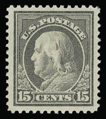 Sale Number 930, Lot Number 2499, 1912-14 Washington-Franklin Issue (Scott 405-423)15c Gray (418), 15c Gray (418)