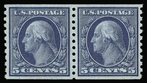 Sale Number 930, Lot Number 2553, 1913-15 Washington-Franklin Issues (Scott 424-461)5c Blue, Coil (458), 5c Blue, Coil (458)