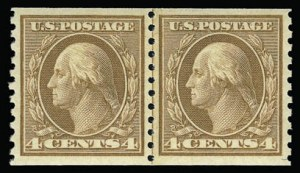 Sale Number 930, Lot Number 2587, 1917-19 Issues (Scott 481-524)4c Orange Brown, Coil (495), 4c Orange Brown, Coil (495)