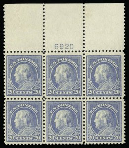 Sale Number 930, Lot Number 2617, 1917-19 Issues (Scott 481-524)20c Light Ultramarine (515), 20c Light Ultramarine (515)
