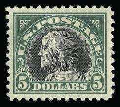 Sale Number 930, Lot Number 2636, 1917-19 Issues (Scott 481-524)$5.00 Deep Green & Black (524), $5.00 Deep Green & Black (524)