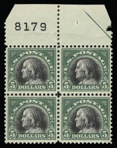 Sale Number 930, Lot Number 2637, 1917-19 Issues (Scott 481-524)$5.00 Deep Green & Black (524), $5.00 Deep Green & Black (524)