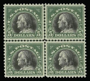 Sale Number 930, Lot Number 2638, 1917-19 Issues (Scott 481-524)$5.00 Deep Green & Black (524), $5.00 Deep Green & Black (524)