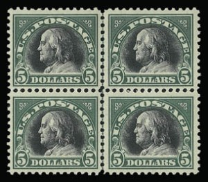 Sale Number 930, Lot Number 2639, 1917-19 Issues (Scott 481-524)$5.00 Deep Green & Black (524), $5.00 Deep Green & Black (524)
