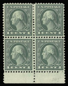 Sale Number 930, Lot Number 2654, 1919-20 Issues (Scott 537-550)1c Green, Rotary (545), 1c Green, Rotary (545)