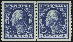 Sale Number 932, Lot Number 154, 1914 Coil Issue (Scott 441 to 447)5c Blue, Coil (447), 5c Blue, Coil (447)