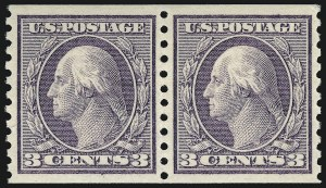 Sale Number 932, Lot Number 178, 1915 Rotary Press Coil Issue (Scott 448 to 459)3c Violet, Coil (456), 3c Violet, Coil (456)
