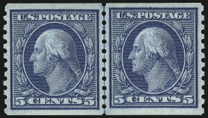Sale Number 932, Lot Number 183, 1915 Rotary Press Coil Issue (Scott 448 to 459)5c Blue, Coil (458), 5c Blue, Coil (458)