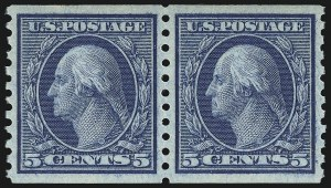 Sale Number 932, Lot Number 184, 1915 Rotary Press Coil Issue (Scott 448 to 459)5c Blue, Coil (458), 5c Blue, Coil (458)