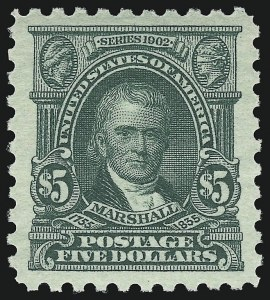 Sale Number 932, Lot Number 211, 1916-17 Issue (Scott 462 to 480)$5.00 Light Green (480), $5.00 Light Green (480)